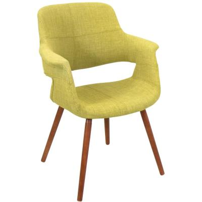Vintage Flair Walnut and Green Accent Chair