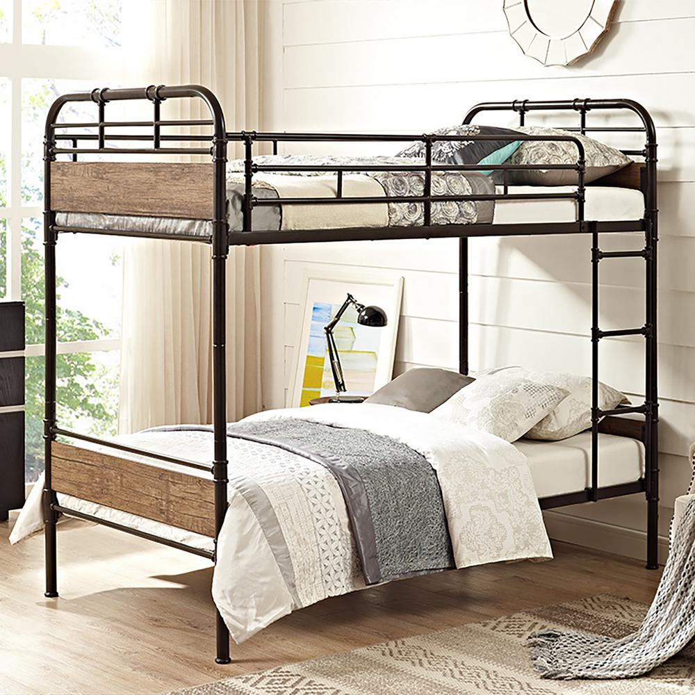 Walker Edison Furniture Company Rustic Twin Over Twin Metal Bunk Bed