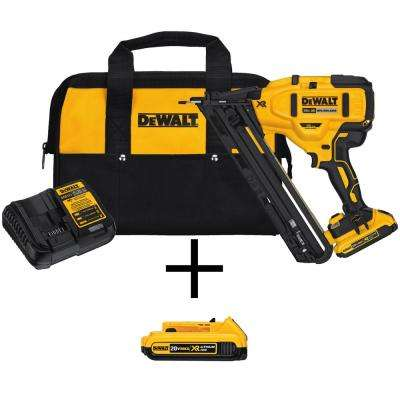 20-Volt Max Lithium-Ion Cordless 15-Gauge Finish Nailer with Bonus Lithium-Ion Compact Battery Pack 2.0Ah
