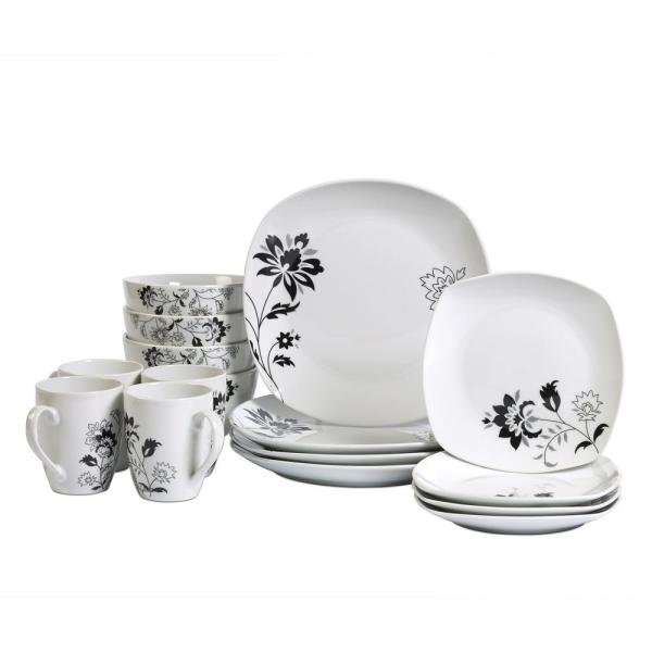 Tabletops Gallery Dinner Set 16-Piece White and Floral Pattern Dinnerware Set Rebecca