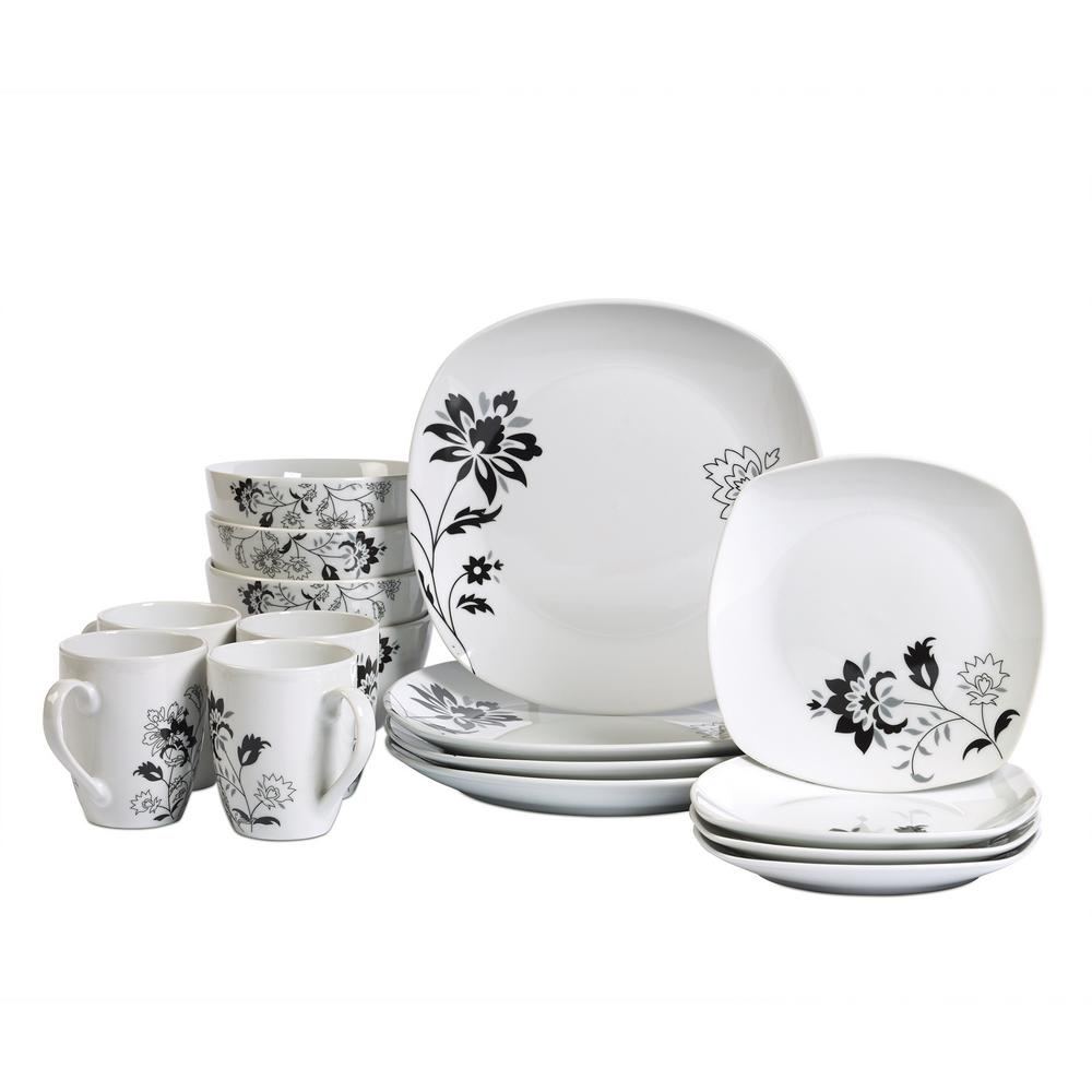 Attrayant Tabletops Gallery Dinner Set 16 Piece White And Floral Pattern Dinnerware  Set Rebecca