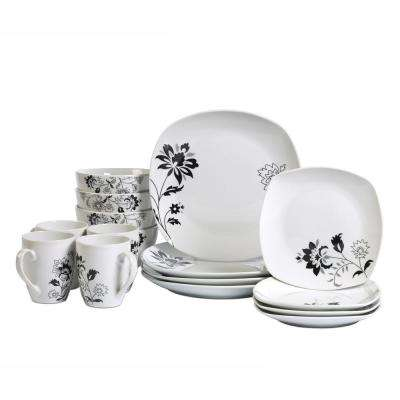 Dinner Set 16-Piece White and Floral Pattern Dinnerware Set Rebecca