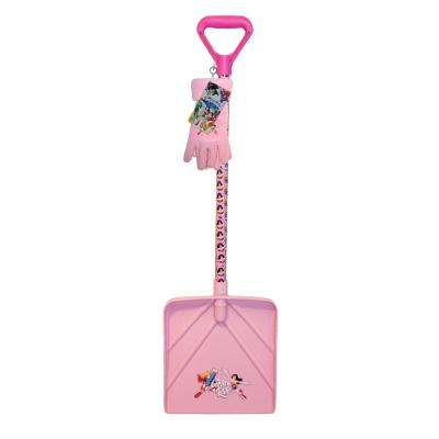 Girls Snow Shovel and Fleece Glove Combo Set