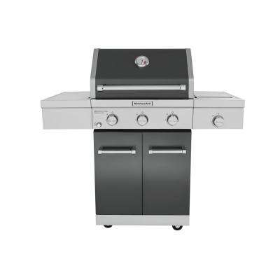 3-Burner Propane Gas Grill in Slate with Ceramic Sear Side Burner