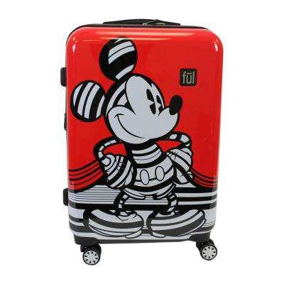 Striped Mickey Mouse 29 in. Red Hard Sided Luggage