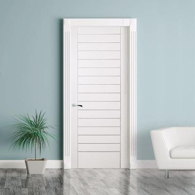 24 in. x 80 in. Modern Stacked Solid Core White Primed Wood Interior Door Slab