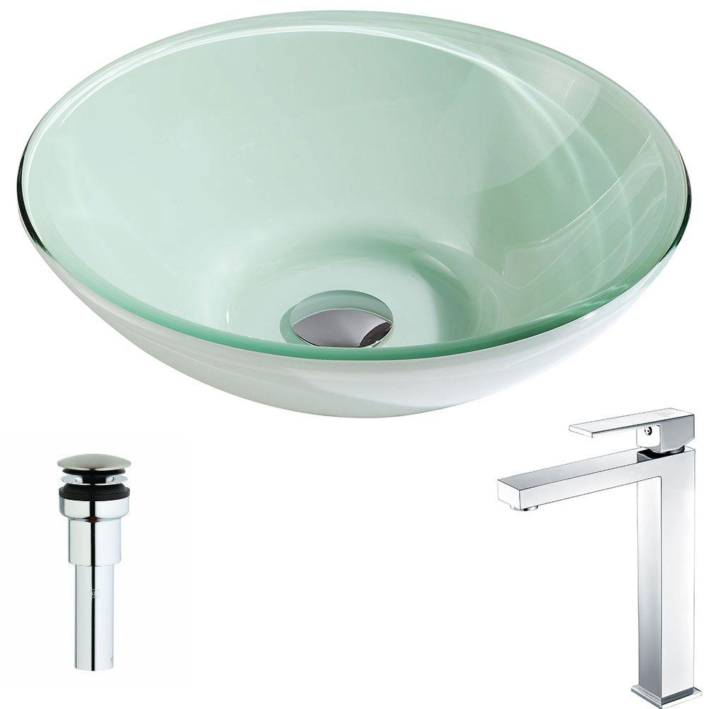 Sonata Series Deco-Glass Vessel Sink in Lustrous Light Green with Enti