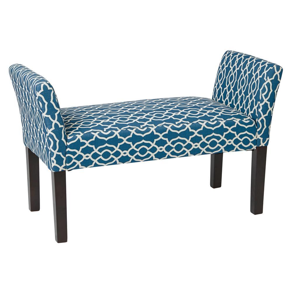 Kelsey Dark Espresso Legs and Abby Geo Blue Fabric Bench