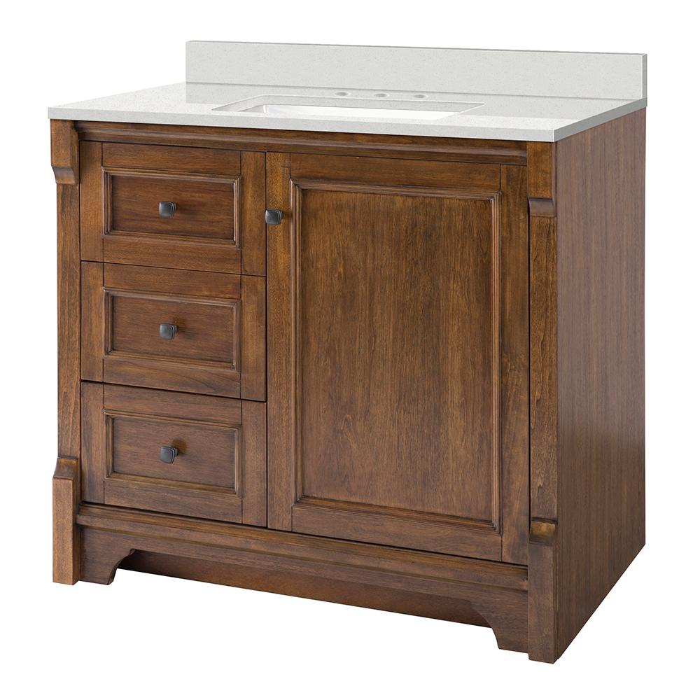 Home Decorators Collection Creedmoor 37 in. W x 22 in. D Vanity Cabinet in Walnut with Engineered Marble Vanity Top in Snowstorm with White Sink