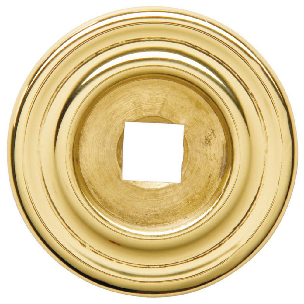 Round 1.25 in. Polished Brass Decorative Back Plate Cabinet Knob