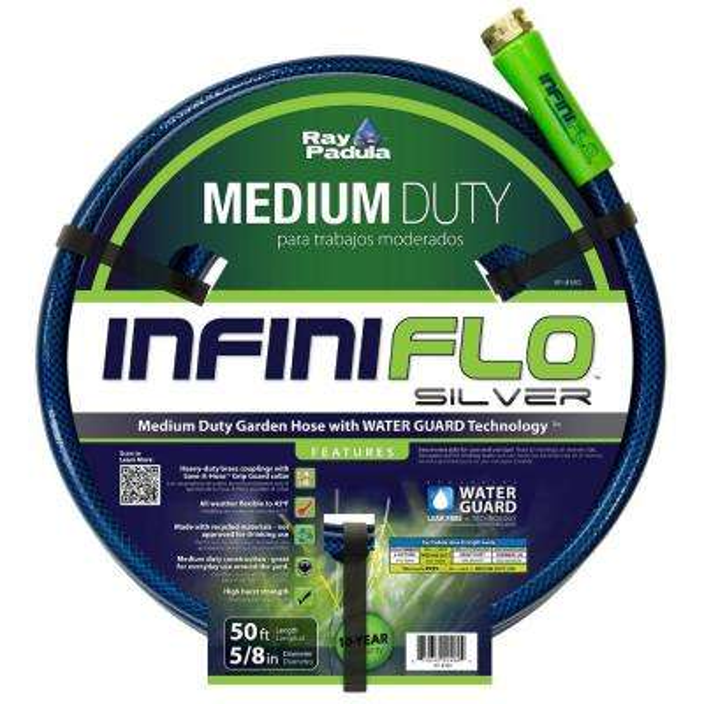InfiniFlo 3/8 in. Dia x 50 ft. Silver Medium Duty Garden Hose