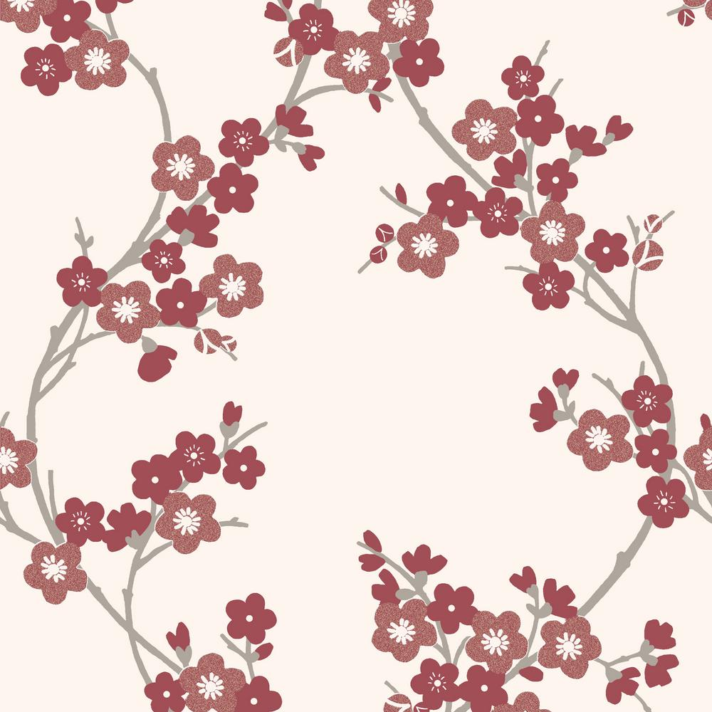 Graham Brown Scarlet Cherry Blossom Wallpaper