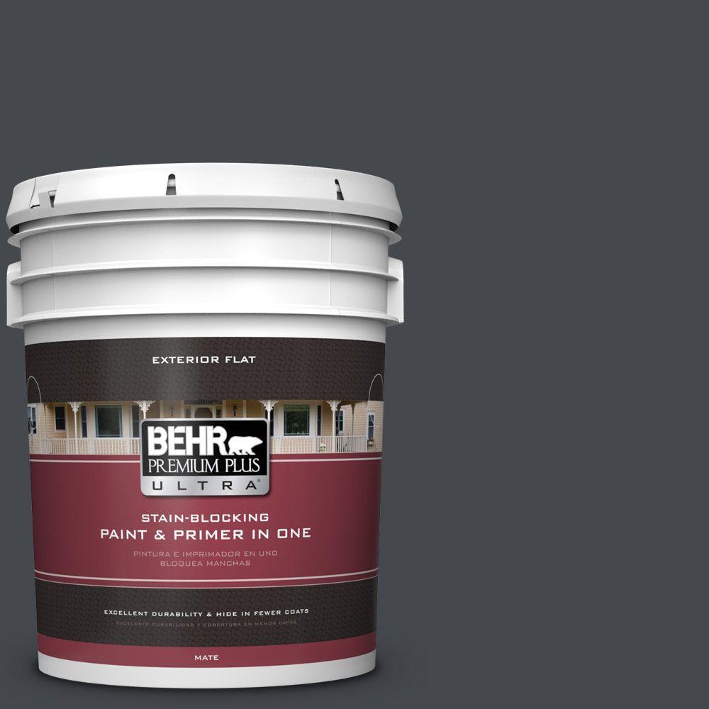 BEHR Premium Plus Ultra 5-gal. #N490-7 Ink Black Flat Exterior Paint