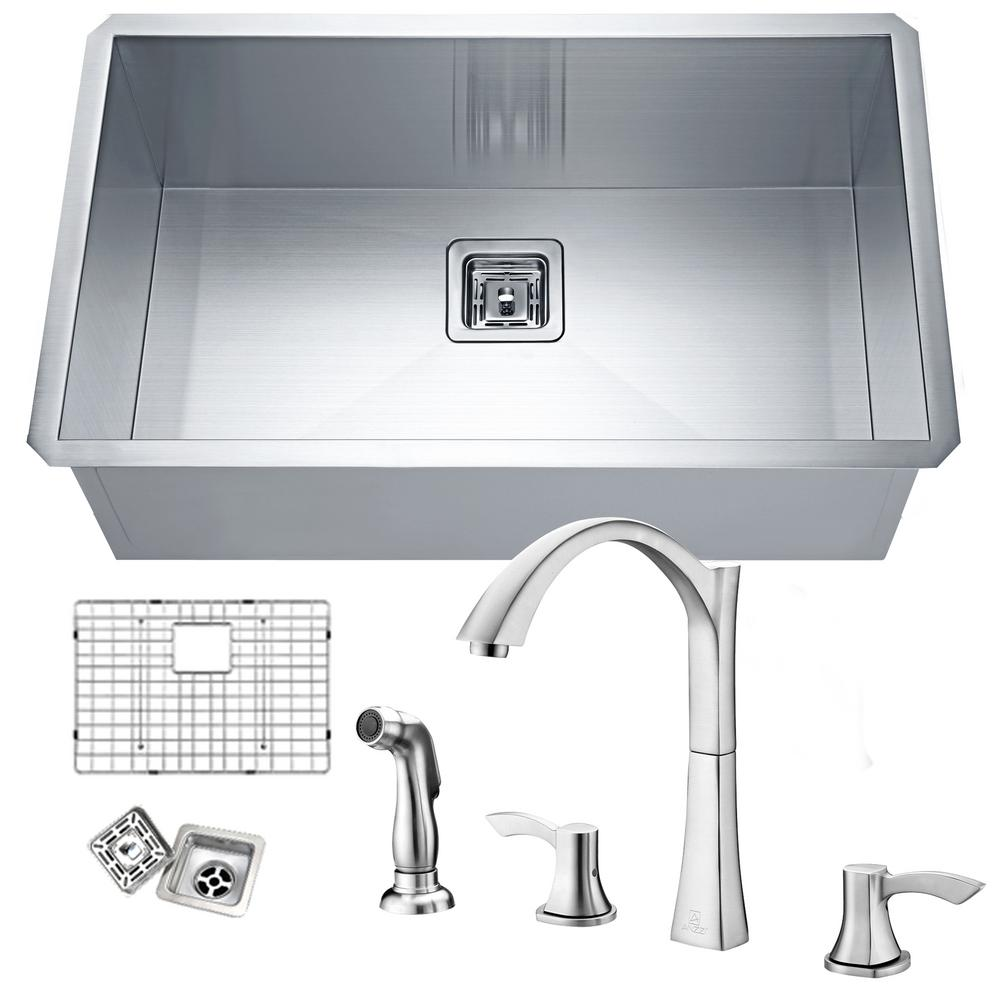 brushed nickel kitchen sinks anzzi vanguard undermount stainless steel 30 in single 4946