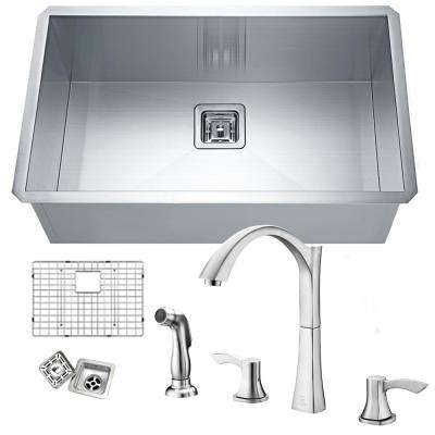 Vanguard Undermount Stainless Steel 30 in. Single Bowl Kitchen Sink with Faucet in Brushed Nickel