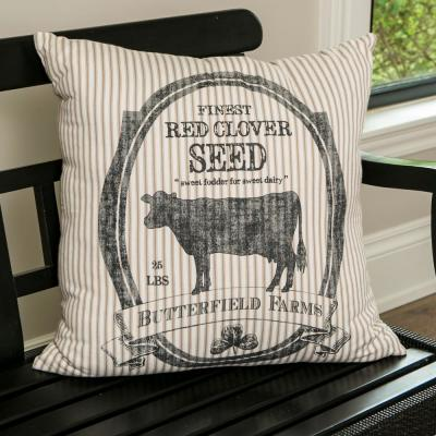 Farmhouse Butterfield Farms 22 in. x 22 in. Tan and Black Pillow Cover