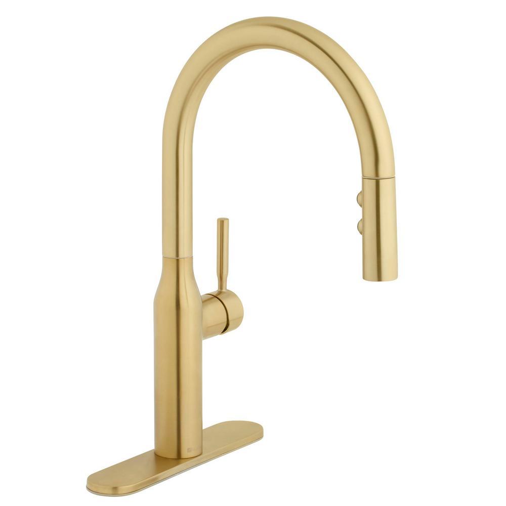 Glacier Bay Upson Single-Handle Pull-Down Sprayer Kitchen Faucet in Matte  Gold