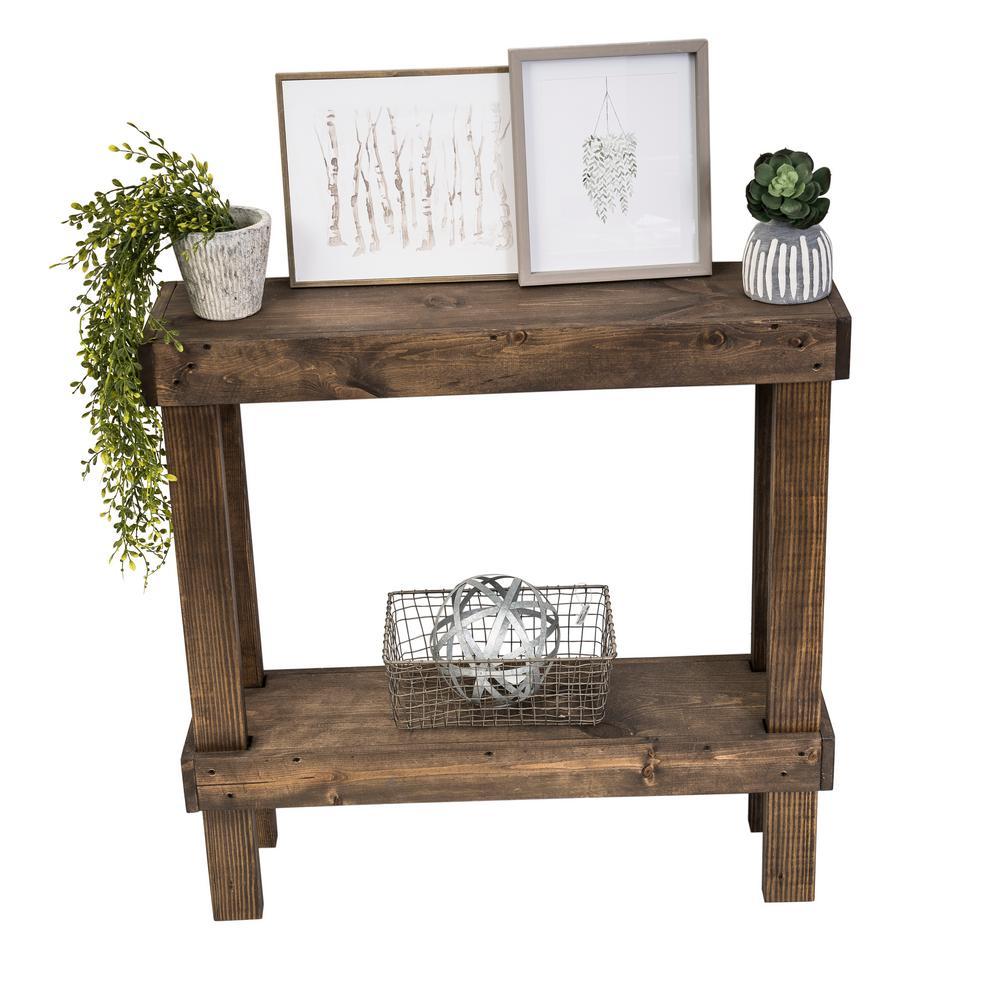 Del Hutson Designs Rustic Luxe Dark Walnut Small Sofa Table Dhd1462dw The Home Depot