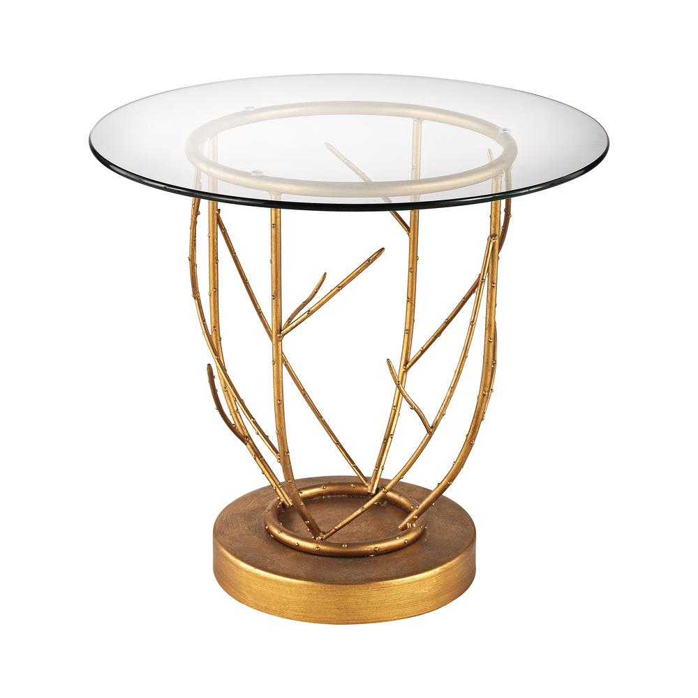 Merveilleux Titan Lighting Thicket Gold Leaf And Clear Glass Side Table