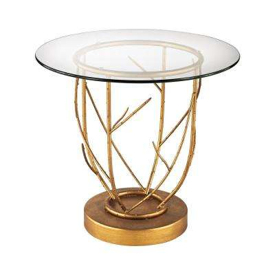 Thicket Gold Leaf And Clear Glass Side Table