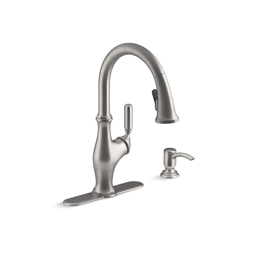 KOHLER Worth Single-Handle Pull-Down Sprayer Kitchen Faucet in Vibrant  Stainless