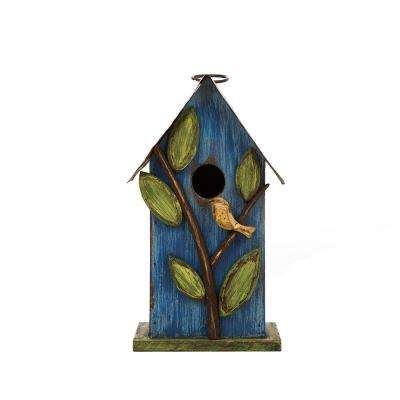 9.84 in. H Distressed Solid Wood Birdhouse with Leaves