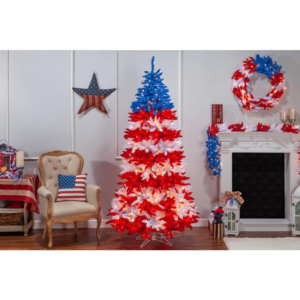 Patriotic Christmas Trees.Sterling 7 5 Ft Patriotic America Artificial Christmas Tree In Red White And Blue With 1040 Clear Lights