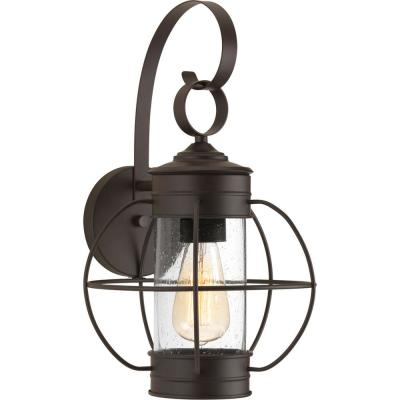 Haddon Collection 1-Light Antique Bronze 17 in. Outdoor Wall Lantern Sconce