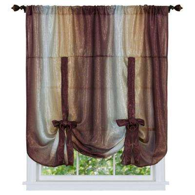 Semi-Opaque Ombre Chocolate Polyester Tie Up Shade Curtain - 50 in. W x 63 in. L