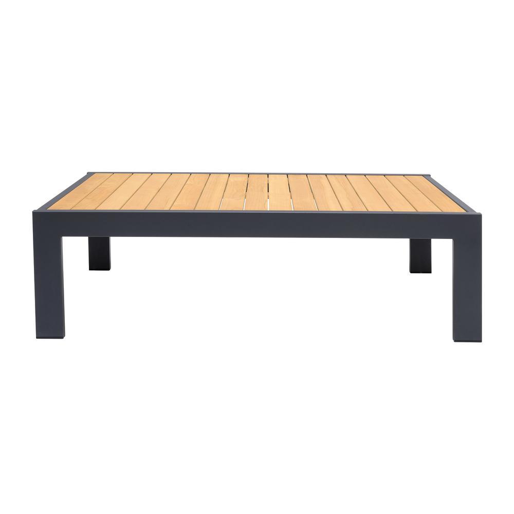 Palau Outdoor Coffee Table in Dark Grey with Natural Teak Wood Top