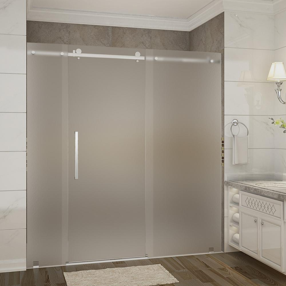 Aston moselle 72 in x 75 in completely frameless sliding shower door with frosted glass in for Stainless steel bathroom doors