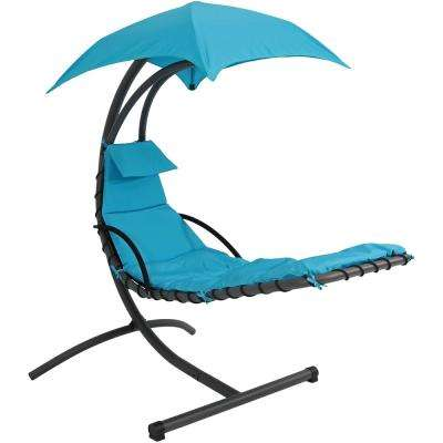 Steel Outdoor Floating Chaise Lounge Chair with Polyester Teal Cushions and Canopy