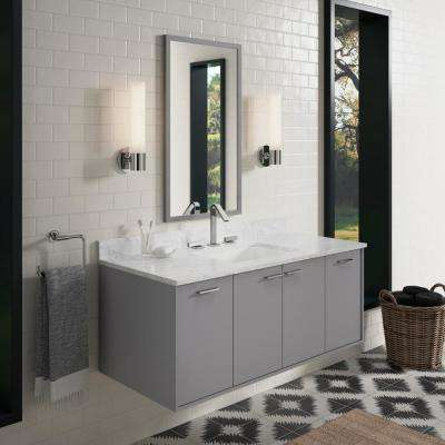 Jute 48 in. W Wall-Hung Vanity Cabinet in Mohair Grey with Marble Vanity Top in Carrara with White Basin