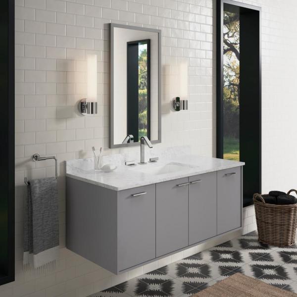 Kohler Jute 48 In W Wall Hung Vanity Cabinet In Mohair Grey With Marble Vanity Top In Carrara With White Basin 99544sd1wtst The Home Depot