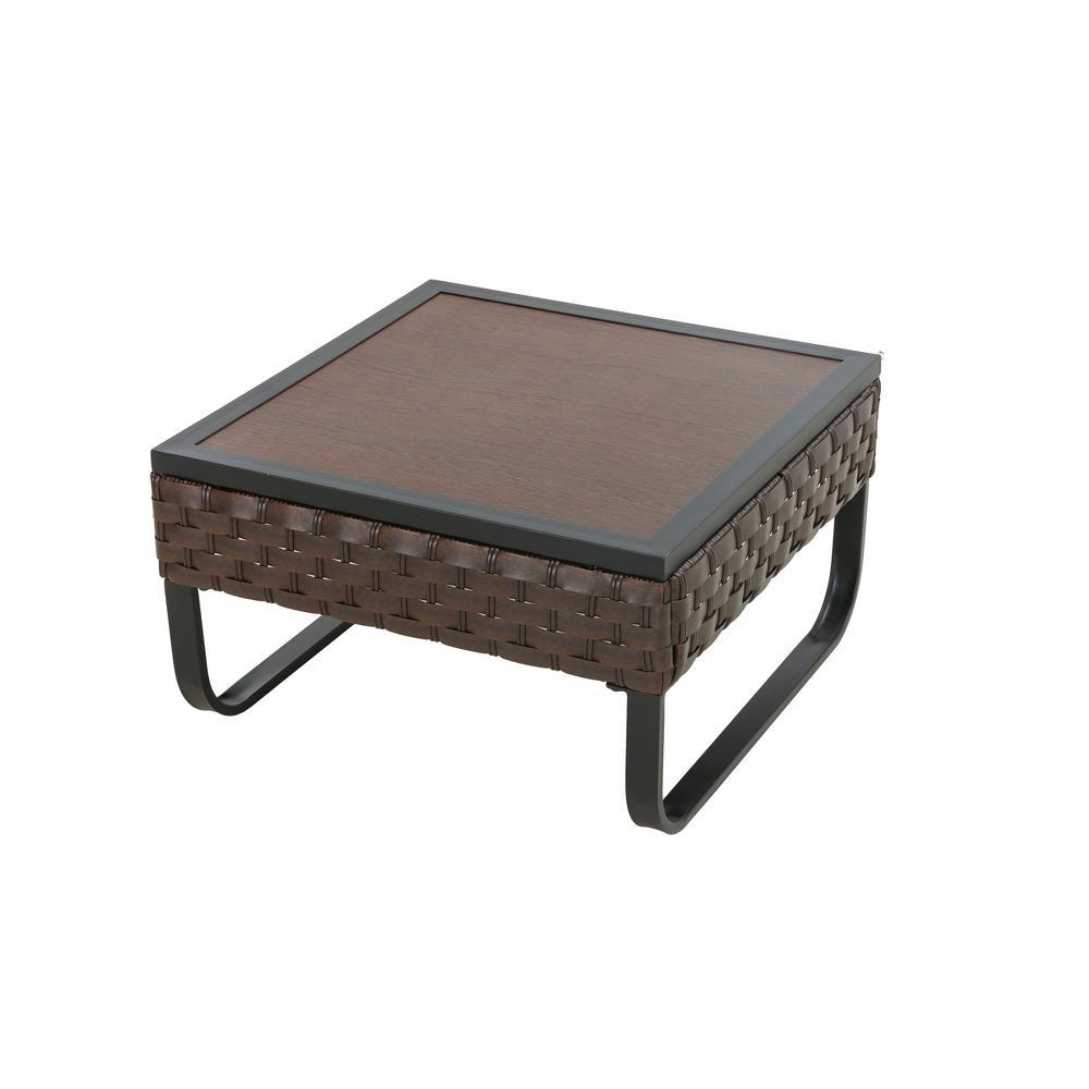 U-Leg Dark Brown Square Metal Outdoor Side Table
