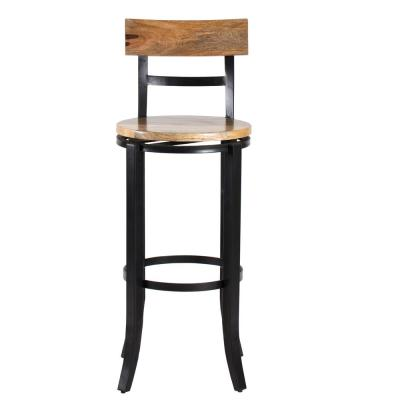 Stella 44 in. Natural and Black Swivel Bar Stool