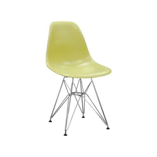 Mod Made Paris Tower Green Dining Side Chair with Chrome Legs