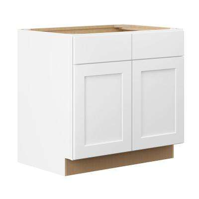 Shaker Ready To Assemble 36 in. W x 34.5 in. H x 2 in. D Plywood Base Kitchen Cabinet in Denver White Painted Finish