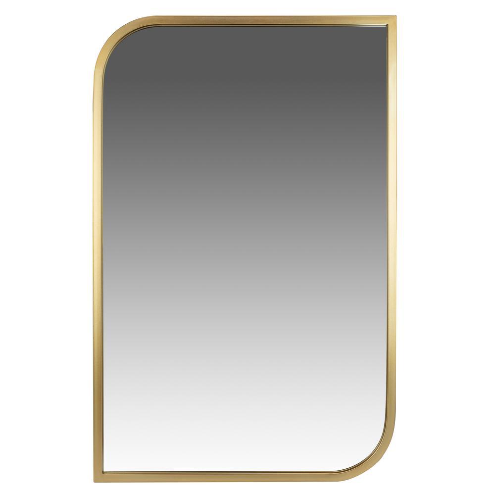 Medium Rectangle Gold Modern Mirror (31.5 in. H x 21.5 in. W)