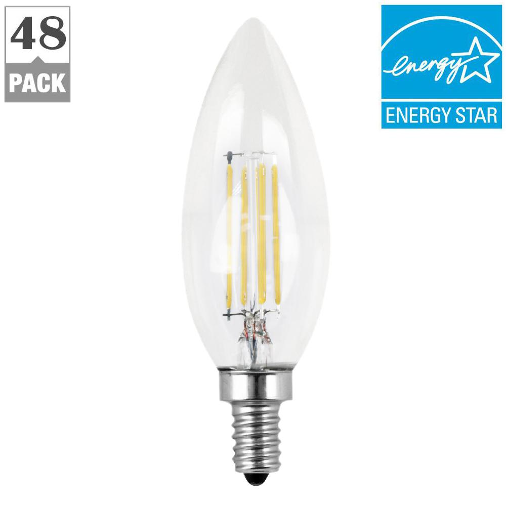 60w Led Candelabra Bulbs: Feit Electric 60W Equivalent Daylight (5000K) B10 Dimmable Filament LED Candelabra Base Clear