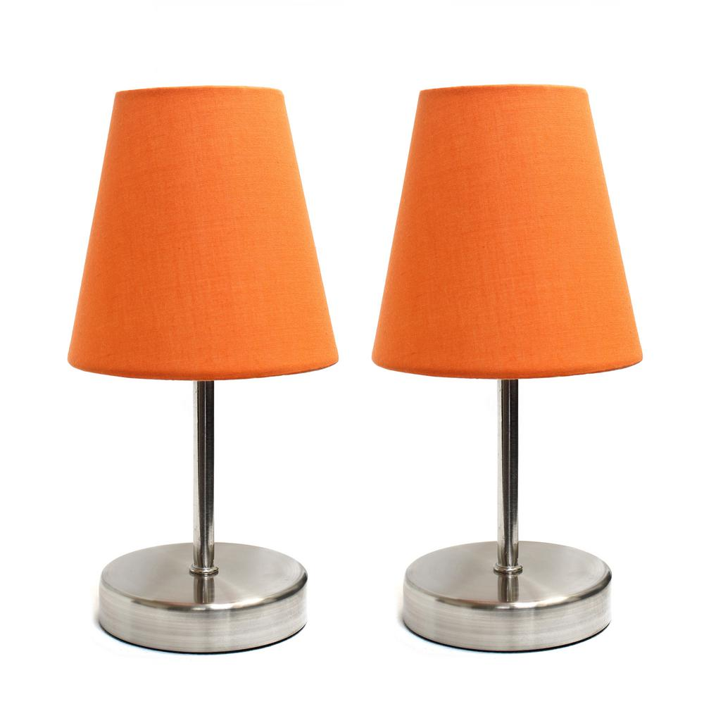 Cool Simple Designs Sand Nickel Mini Basic 10 5 In Table Lamp With Orange Fabric Shade 2 Pack Set Download Free Architecture Designs Ferenbritishbridgeorg