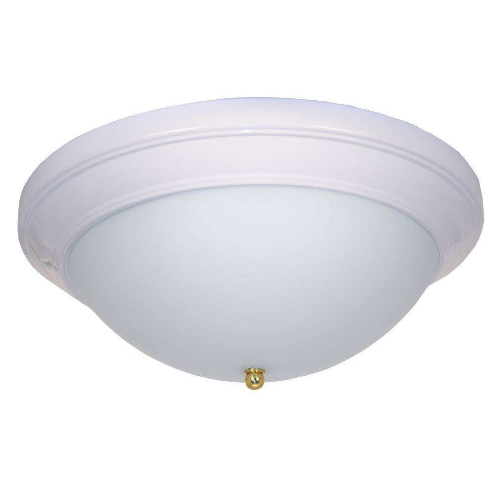 HomeSelects 14 in. Flush Mount Modular Ceiling Fixture with Glass Globe