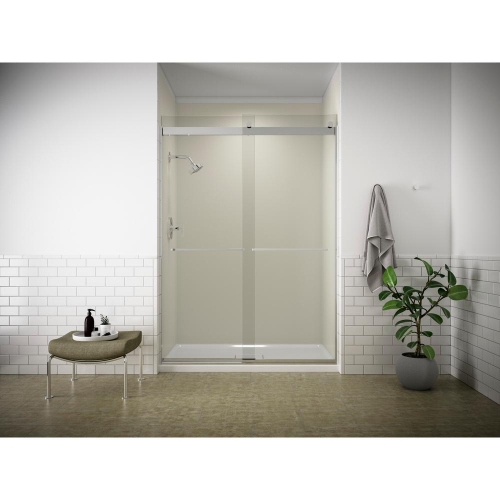Fluence 47-5/8 in. W x 70-5/16 in. H Semi-Frameless Sliding Shower