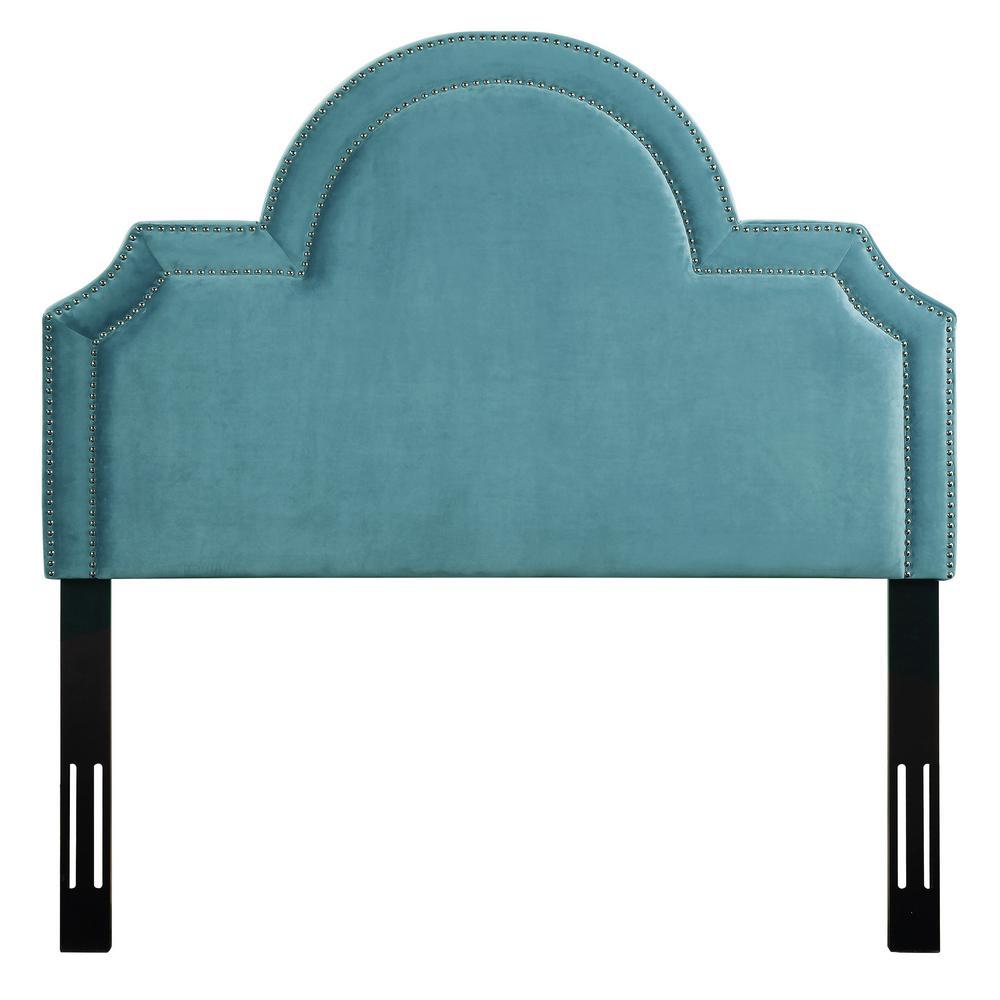 Laylah Sea Blue Velvet Twin Headboard