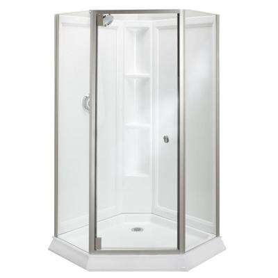 Solitaire Economy 42 in. x 29-7/16 in. x 78-1/4 in. Neo-Angle Corner Shower Kit with Shower Door in White/Silver