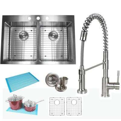 Topmount Drop-In 16-Gauge Stainless Steel 33 in. x 22 in. x 10 in. 50/50 Double Bowl Kitchen Sink and Faucet Combo