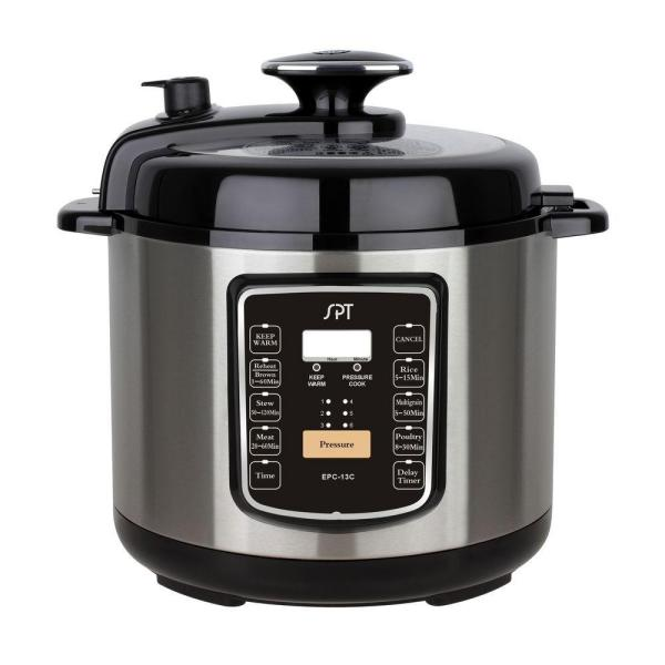 SPT 6.5 Qt. Stainless Steel Electric Pressure Cooker with Delay Timer