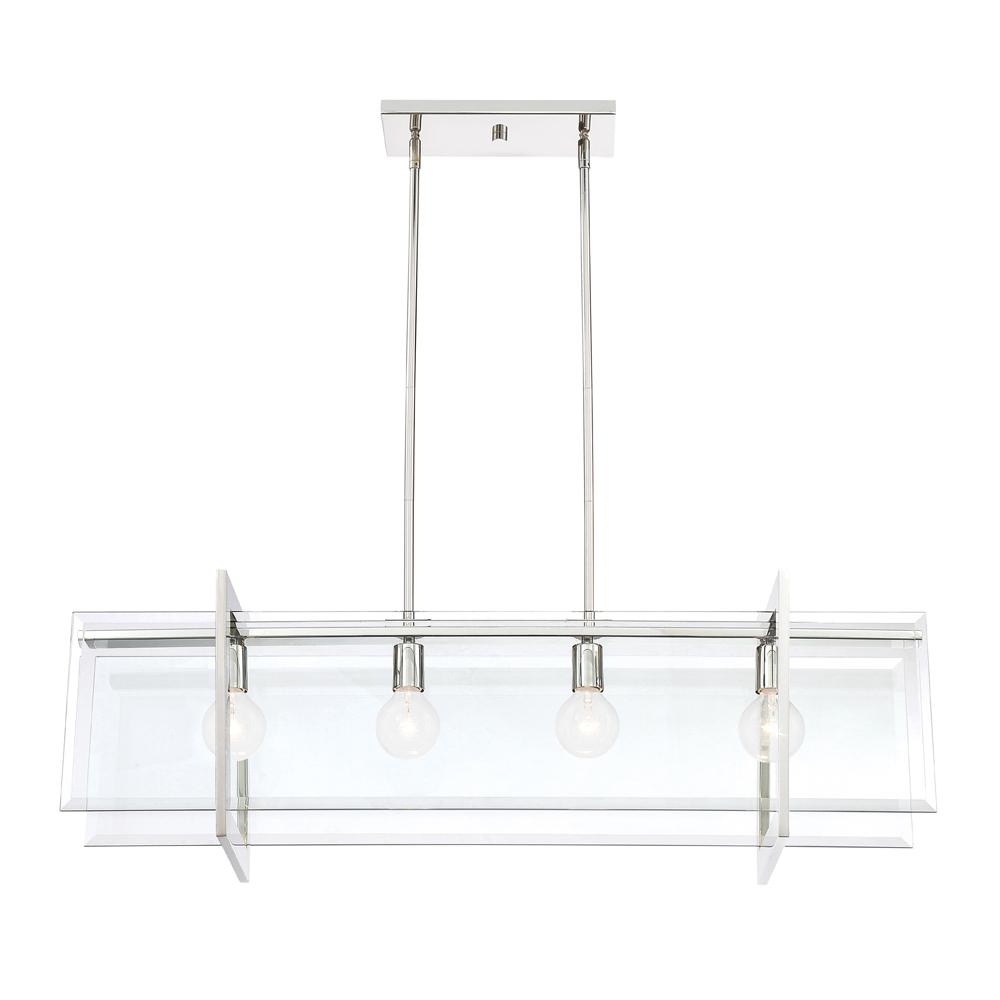 Designers Fountain Ethan 4-Light Polished Nickel Interior Island Chandelier with Clear Beveled Glass Shade