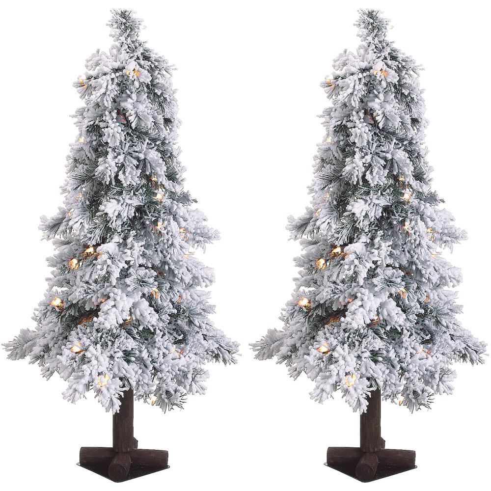 3 ft. Pre-lit Snowy Alpine Artificial Christmas Trees with Clear Lights