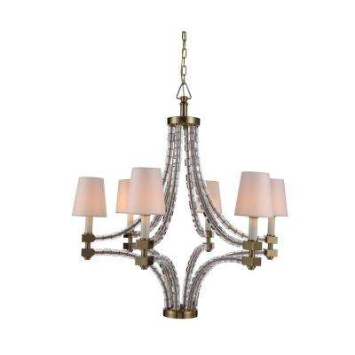 Cristal 6-Light Burnished Brass Chandelier with Clear Crystal